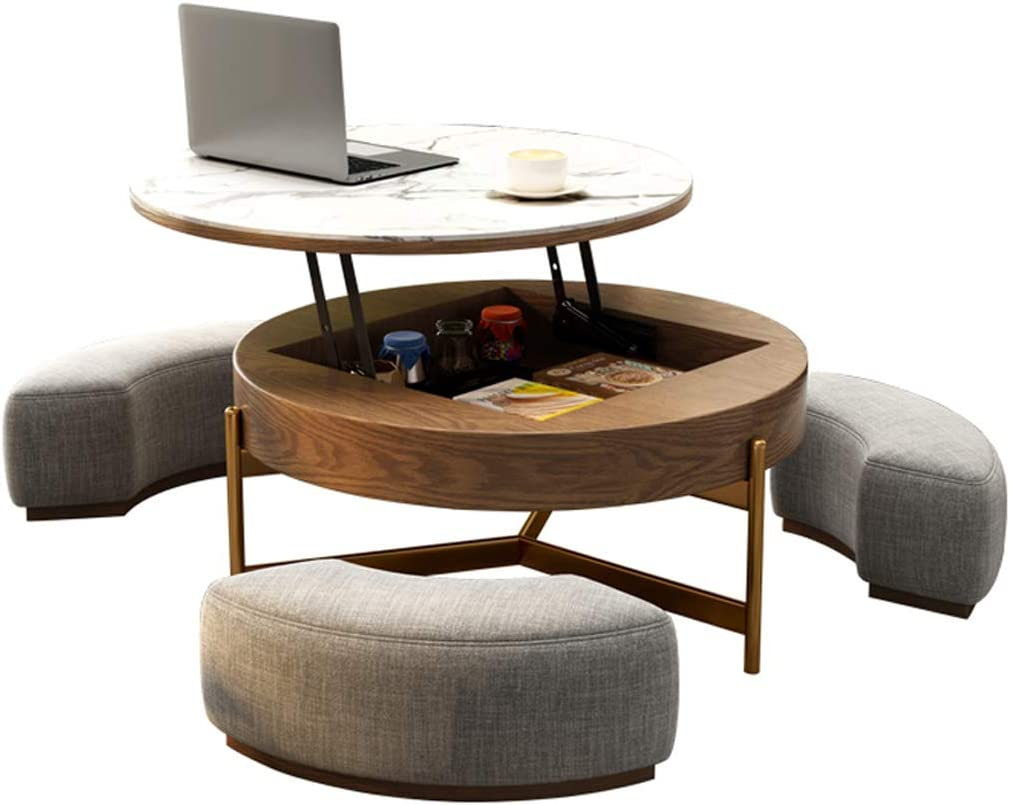Creative Round Coffee Table And Liftable Desk Tempered Glass Table Top With 3 Combined Stools For Living Room And Office Kitchen Dining