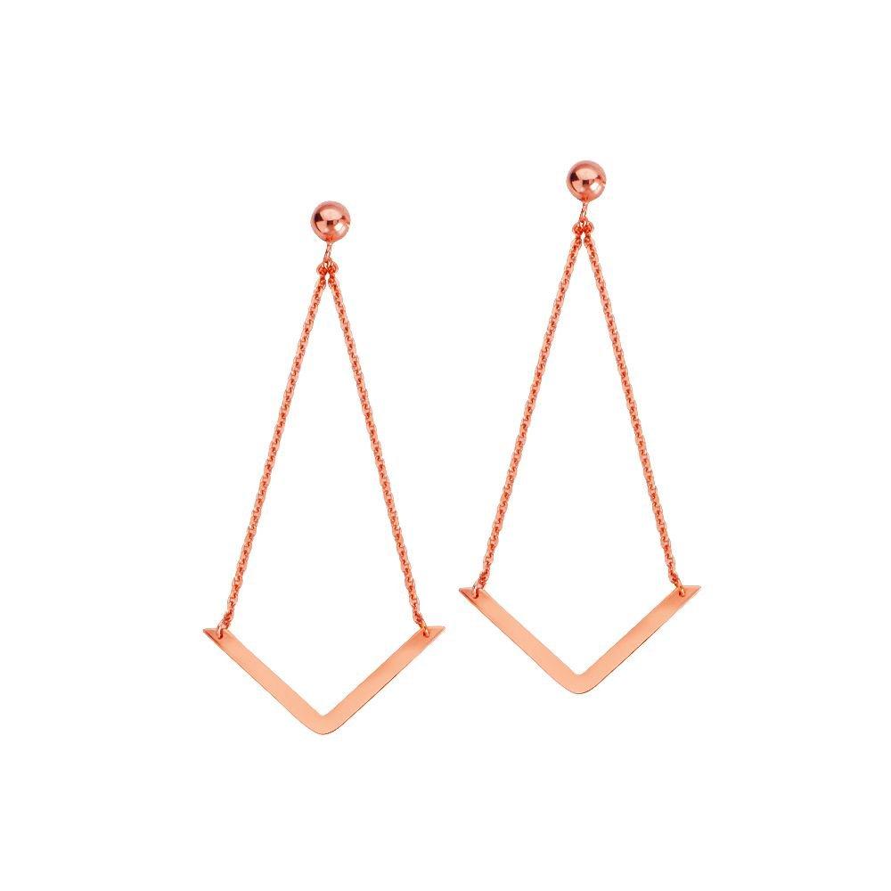 14kt Rose Gold Draw the Line V Shape Earrings