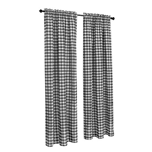 Black Gingham Curtains - GoodGram Buffalo Check Plaid Gingham Custom Fit Window Curtain Treatments Assorted Colors, Styles & Sizes (Single 84 in. Panel, Black)