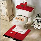 Bessky® HOt Sell 3PCS Fancy Santa Toilet Seat Cover and Rug Bathroom Set Decoration Christmas Gift
