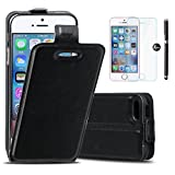 BYD - Black PU Leather Case Cover Vertical Open Flip Case for iPhone 5 / 5S / SE with 3 Screen Protector and 1 Stylus Pen