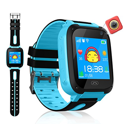VEAQEE GPS Tracker Kids Smart Watch for Children Girls Boys Christmas Gifts with Camera SIM Calls Anti-lost SOS Alarm Compatible for ios and Android … (Blue-01)
