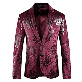Mens Blazer Dress Floral Suit Slim Fit 2 Button Stylish Blazers Prom Dinner Jacket