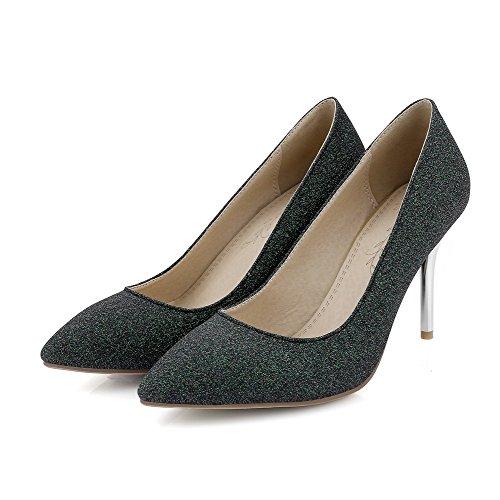 Amoonyfashion Damesslippers Op Spitse Gesloten Teen Spikes Stilettos Mix Materialen Pumps-schoenen Groen