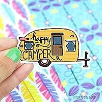 Happy Camper Vinyl Sticker, Camping Sticker, Travel Sticker, Wanderlust, Yeti Sticker, Laptop Decal, RV, Trailer, Road Trip, Retro, Gift For