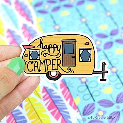 Amazon Com Happy Camper Vinyl Sticker Camping Sticker