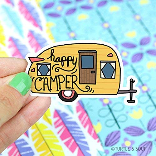 Happy Camper Vinyl Sticker, Camping Sticker, Travel Sticker, Wanderlust, Yeti Sticker, Laptop Decal, RV, Trailer, Road Trip, Retro, Gift For