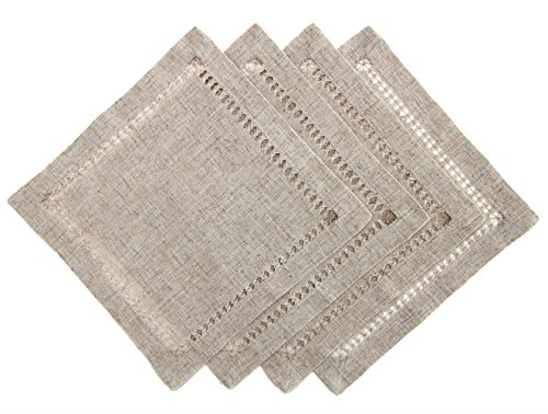Handmade Natural Linen Hemstitched Cocktail Napkins Coasters, Set of 4, Size 12×12 inch
