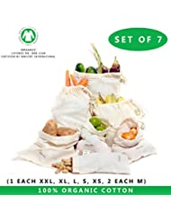 Produce bags with tare weight - Set of 7 - Extra Large, Large, Medium, Small - muslin bag vegetable bags keep fresh, Produce Bag, cotton bag (6'x10',8'x10',12'x10',14'x10',15'x12',18'x12')