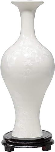 ufengke White Crystal Glaze Ceramic Vase,Handmade Decorative Vase,Tall White Porcelain Vase for Flowers,Height 14.6