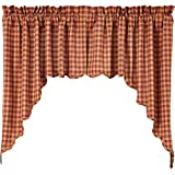 Cheap VHC Brands Classic Country Primitive Kitchen Window Curtains – Check Red Scalloped Swag Pair, Burgundy