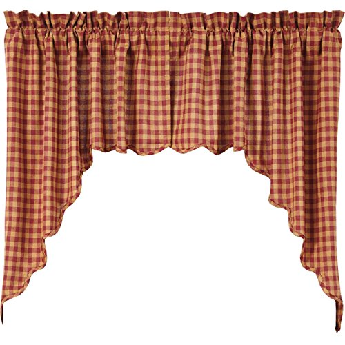 ountry Primitive Kitchen Window Curtains - Check Red Scalloped Swag Pair, Burgundy (Classic Swag)