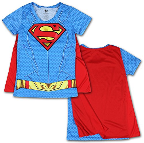 [Juniors: Supergirl- Costume Tee with Cape Juniors (Slim) T-Shirt Size S] (Super Nerdy Costume)