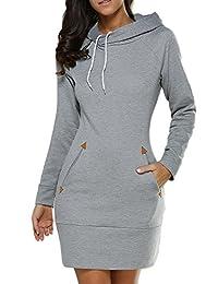 e30821372d5 Suvotimo Women Plus Size Casual Pullover Drawstring Hooded Sweatshirts Mini  Dress