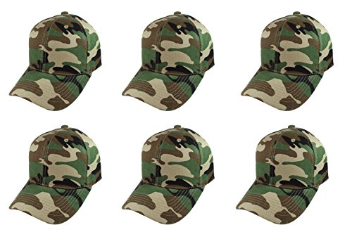 Gelante Plain Blank Baseball Caps Adjustable Back Strap Wholesale Lot 6 (Wholesale Camo Caps)