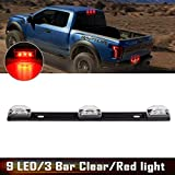 """Automotive : Partsam (1) 14"""" Clear/Red 3Lamp ID LED Light Bar Tailgate Mount For Dodge RAM 1500 2500 3500 Sealed ID Light Bar Clearance"""