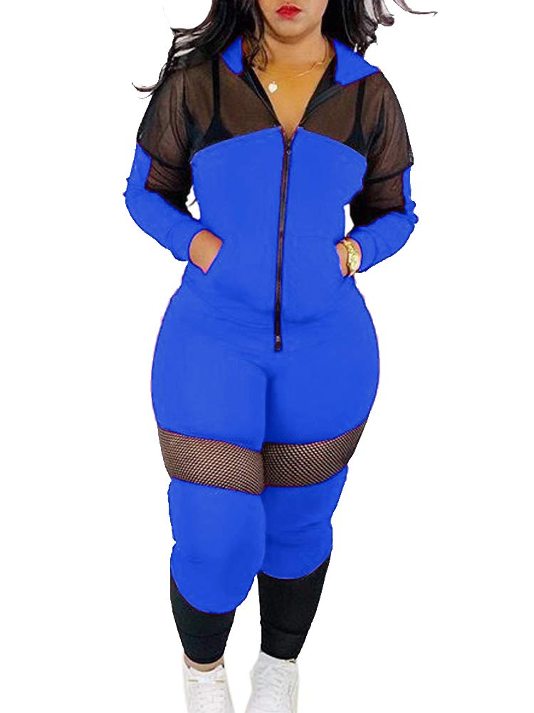NVXIYYA Women Long Sleeve Mesh See Through Patchwork Long Pants Tracksuits Workout Hooded Sweatsuits 2 Piece Jumpsuit Blue S by NVXIYYA