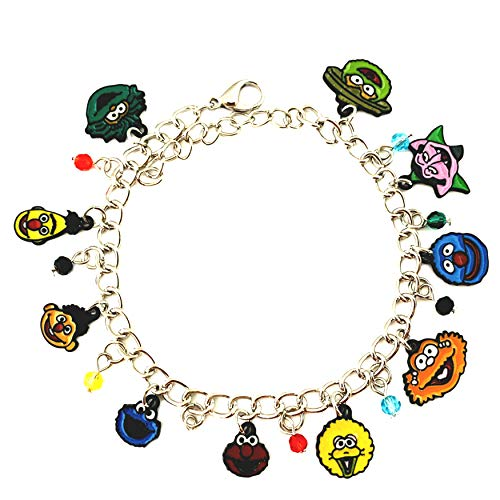 Athena Brand Sesame Street TV Series Kids Theme Comics Movie Cartoon Logo Charm Jewelry Bracelet w/Gift Box