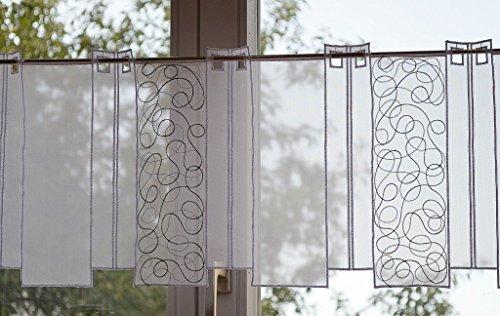 Bistrogardine 30 x 80 cm weiß/silber/schwarz