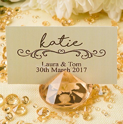 GOLD Diamond Place Card Holders for Wedding & Party Table Decorations - Set of 20 - Strong, Solid Acrylic Table Name Card Holders by Pretty Display