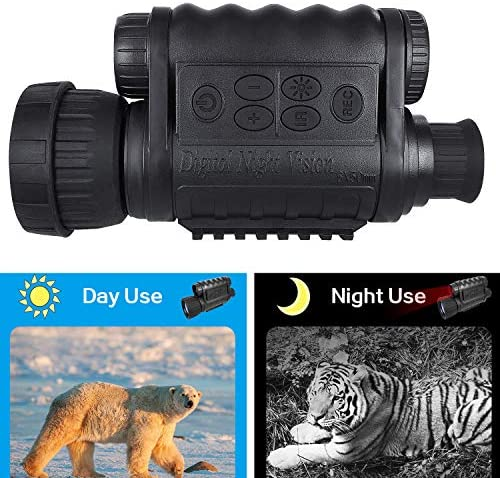 Night Vision Monocular, HD Digital Infrared Camera Scope 6x50mm with 1.5 inch TFT LCD High Power Hunting Gear Takes 5mp Photo 720 Video up to 350m 1150ft Detection Distance