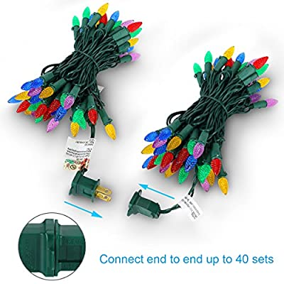 LED Christmas Lights Strawberry C3 Bulbs 50 LED String Lights Indoor Outdoor Decorative Lights Weatherproof for Xmas Tree Home Bedroom Patio Garden Holiday UL Listed Multi-color