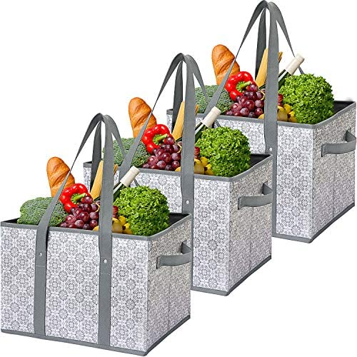 WiseLife Reusable Grocery Bags Storage Baskets Shopping Bags [3 Pack],Water Resistant Foldable Collapsible Large Storage Bins Tote Bags Cube Box for Clothes,Toys,Shoes and Picnic(Floral)