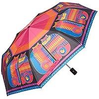 Laurel Burch Compact Umbrella Canopy Auto Open/Close-Rainbow Cat Cousins, 42-Inch