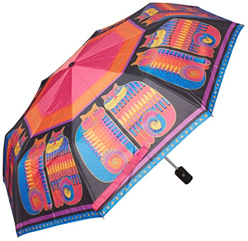 Laurel Burch Compact Umbrella 42 Canopy Auto Open/Close-Rainbow Cat Cousins