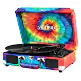 Victrola Vintage 3-Speed Bluetooth Suitcase Turntable with Speakers, Tie Dye