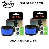 Higo LED Slap Bracelet, Glow in The Dark Sports Wristbands, Safety Running Gear Light Up Armbands for Cycling, Jogging, Hiking