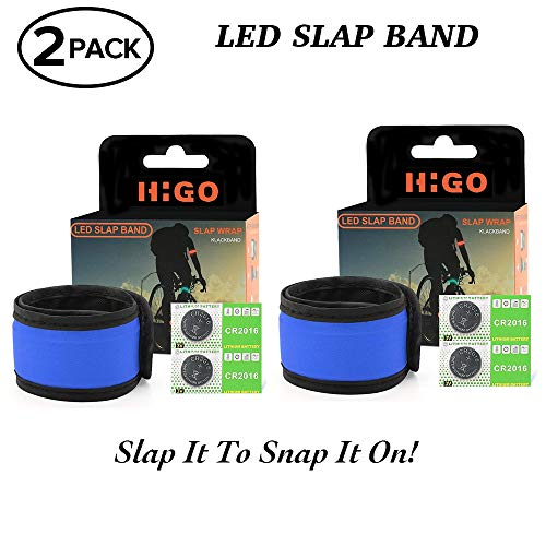 Higo LED Slap Bracelet, Glow in The Dark Sports Wristbands, Safety Running Gear Light Up Armbands for Cycling, Jogging, Hiking (2 Pack Blue(35cm)) -