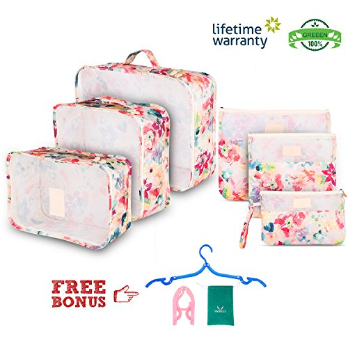 Clothes Travel Luggage Organizer Pouch (Light Pink) Set of 6 - 1