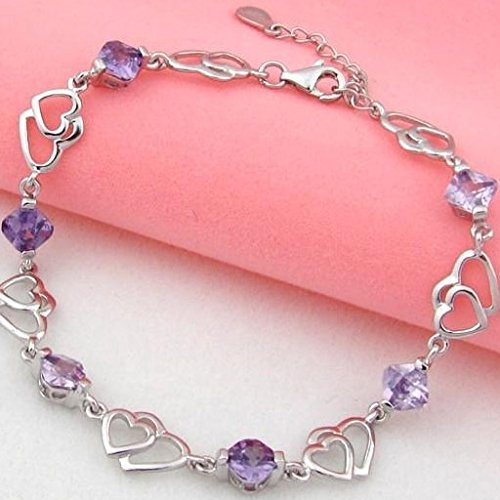 Menoa Love Heart Link Bracelet Purple Sweet 6.4inches Expandable White Gold Plated Lover Mom Gift