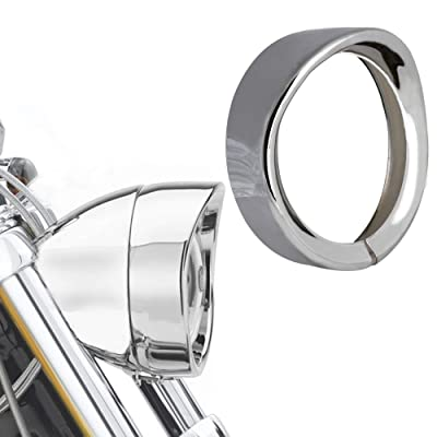 "NTHREEAUTO 7"" Headlight Trim Ring Head Lamp Visor Motorcycle Headlight Chrome Decorate Rings Compatible with Harley Softail Road King Touring Bikes (Chrome): Automotive"