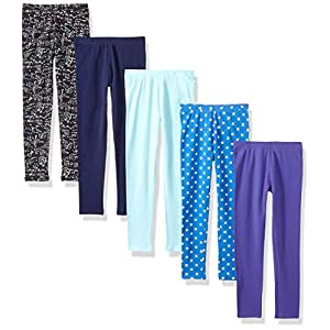 Amazon Brand – Spotted Zebra Girls' Toddler & Kids 5-Pack Leggings