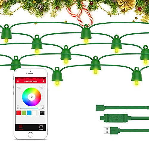 - PLAYBULB Smart String Lights, Green Wire LED with iOS & Android APP Controlled & IP65 Waterproof Patio Bright Light for Xmas Tree, Camping, Party, Garden, Outdoor Decorations, Multicolor (10M (33ft))