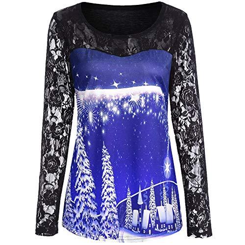 TOTOD Christmas, Women Novelty Sweatshirt Xmas Costume Lace Print Pullover Long Sleeve Shirt Blouse Tops ()