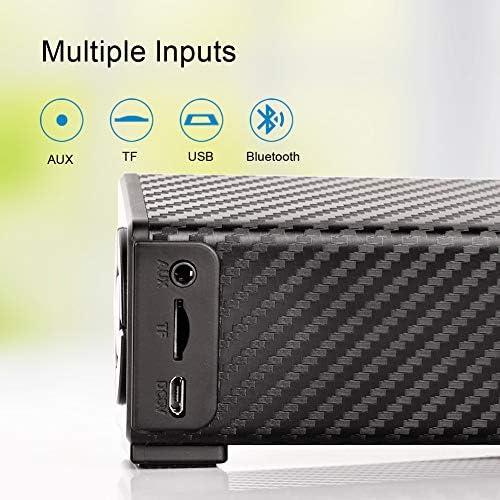 Bluetooth Speaker, Bluetooth 5.0 Sound Bar, Wireless Sound Bar, Stereo USB Powered 17-Inch Soundbar for PC Tablets Desktop Cellphone Computer[RCA, AUX](Black) 51qEWcPl3IL