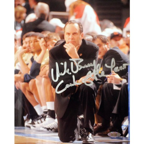 NCAA Notre Dame Fighting Irish Mike Brey on His Knees on the Sidelines Signed Vertical Photograph, 8x10-Inch -