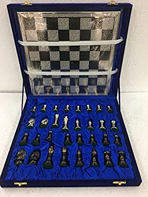 MannatKart Brass Metal chess pieces set with Chess Board - Artistic Hand Carved Golden Silver pcs