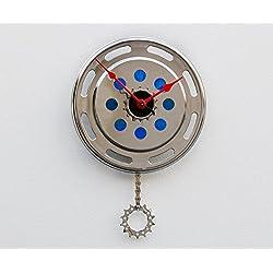 Bike clock, bicycle wall clock, Recycled Bike Gear Clock, Wall clock, upcycled bike gift, modern wall clock, pendulum clock, upcycled bicycle parts clock, repurposed cycle parts clock, cyclist clock
