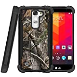 MINITURTLE Case Compatible w/ Miniturtle | LG K8 |LG Escape 3 |LG Phoenix 2 Case [Shockwave Armor]High Impact Two Layer Case w/ Stand + Tempered Glass Tree Bark Hunter Camouflage