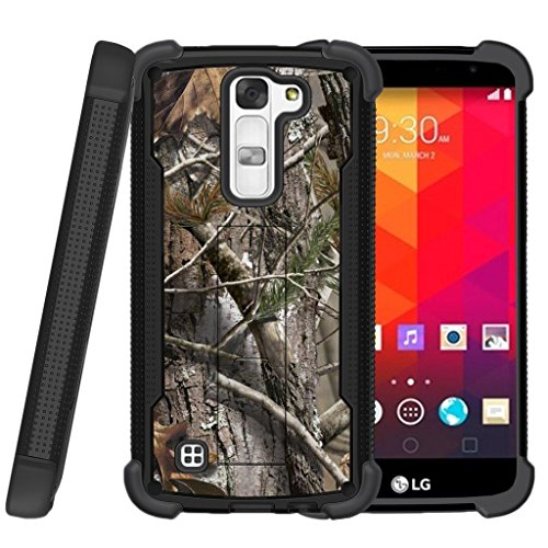 Miniturtle | LG K8 |LG Escape 3 |LG Phoenix 2 Case [Shockwave Armor]High Impact Two Layer Case with Kickstand + Tempered Glass Combo - Tree Bark Hunter Camouflage - Bark Glass