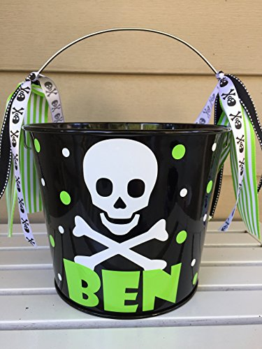 Personalized 5 quart Halloween pail- skull and crossbones design -