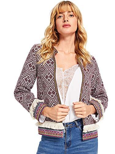 Jacket Trim - Milumia Women's Contrast Embroidered Tape Fringe Trim Tribal Tweed Blazer Multicolored-3 M
