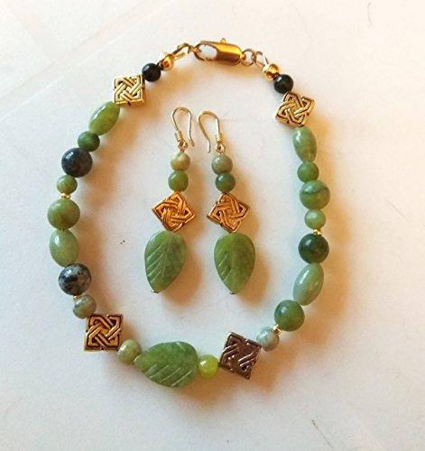 - Irish jewelry set - Connemara marble bracelet, gold filled earwires earrings, handmade gift card