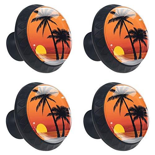 (Idealiy Palm Tree Sunrise Cabinet Door Knobs Handles Pulls Cupboard Handles Drawer Wardrobe 4pcs )