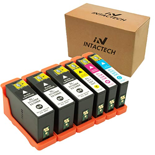 Intactech 6 Pack Replacement for Dell Series 31 32 33 Ink Cartridges for Dell V525w V725w Printer (3 Black, 1 Cyan, 1 Magenta, 1 Yellow)