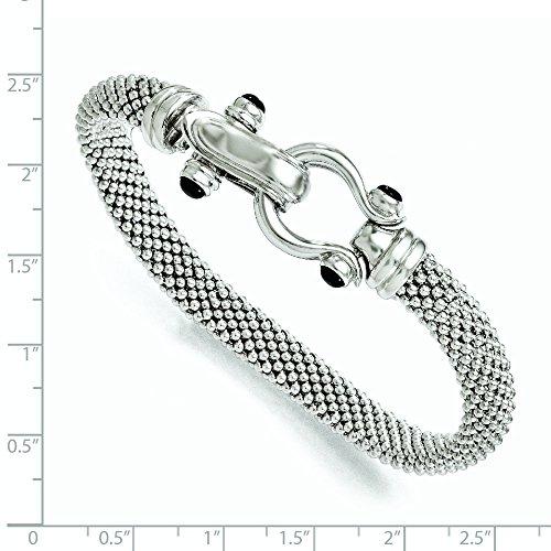 """Sterling Bracelet en Argent et Onyx - 8 """"- JewelryWeb"""